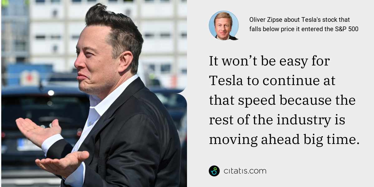 Oliver Zipse: It won't be easy for Tesla to continue at that speed because the rest of the industry is moving ahead big time.