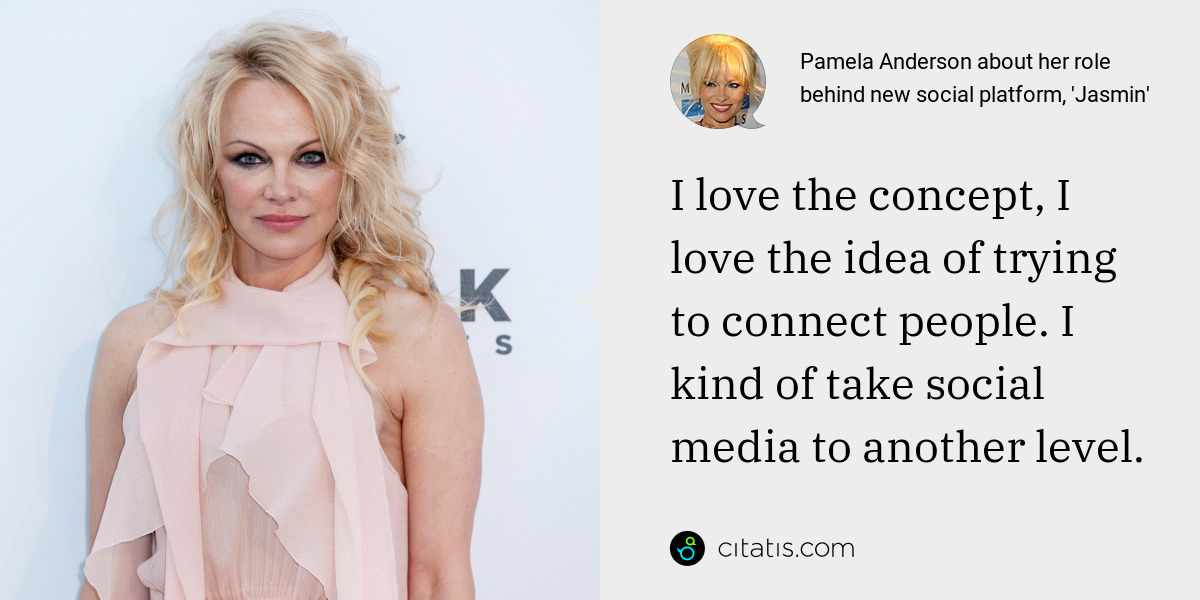 Pamela Anderson: I love the concept, I love the idea of trying to connect people. I kind of take social media to another level.
