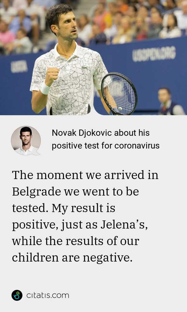 Novak Djokovic About His Positive Test For Coronavirus Citatis News