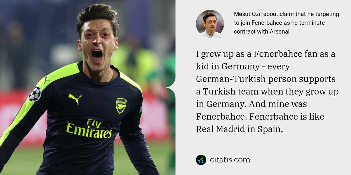 Mesut Ozil: I grew up as a Fenerbahce fan as a kid in Germany - every German-Turkish person supports a Turkish team when they grow up in Germany. And mine was Fenerbahce. Fenerbahce is like Real Madrid in Spain.