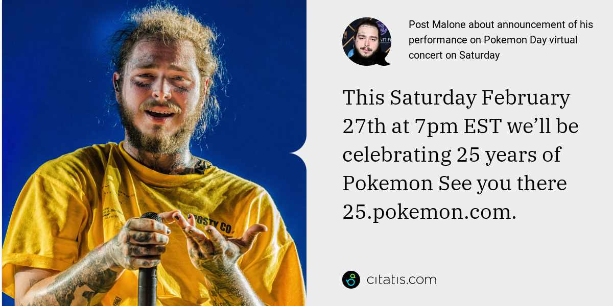 Post Malone: This Saturday February 27th at 7pm EST we'll be celebrating 25 years of 