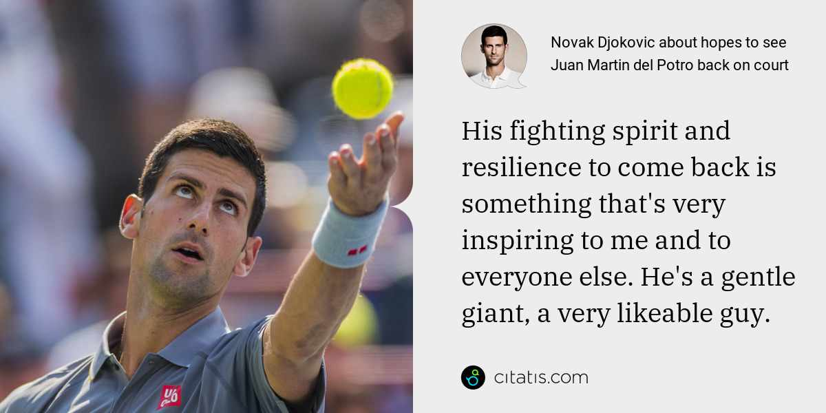 Novak Djokovic: His fighting spirit and resilience to come back is something that's very inspiring to me and to everyone else. He's a gentle giant, a very likeable guy.