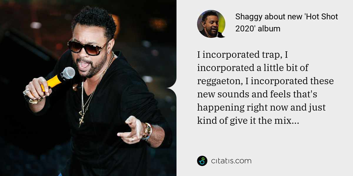 Shaggy: I incorporated trap, I incorporated a little bit of reggaeton, I incorporated these new sounds and feels that's happening right now and just kind of give it the mix...