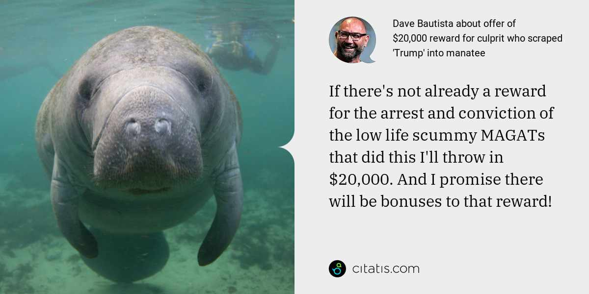 Dave Bautista: If there's not already a reward for the arrest and conviction of the low life scummy MAGATs that did this I'll throw in $20,000. And I promise there will be bonuses to that reward!