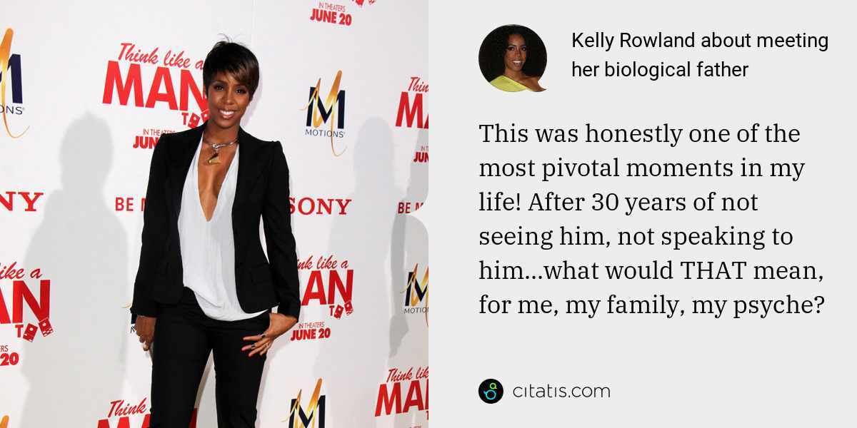 Kelly Rowland: This was honestly one of the most pivotal moments in my life! After 30 years of not seeing him, not speaking to him...what would THAT mean, for me, my family, my psyche?
