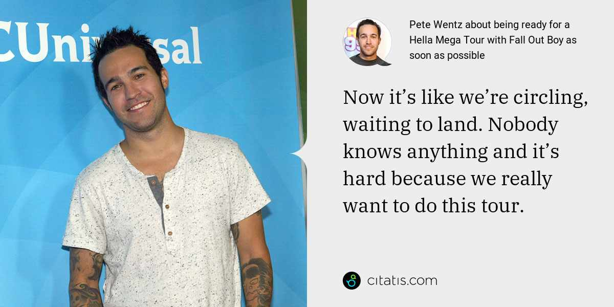 Pete Wentz: Now it's like we're circling, waiting to land. Nobody knows anything and it's hard because we really want to do this tour.