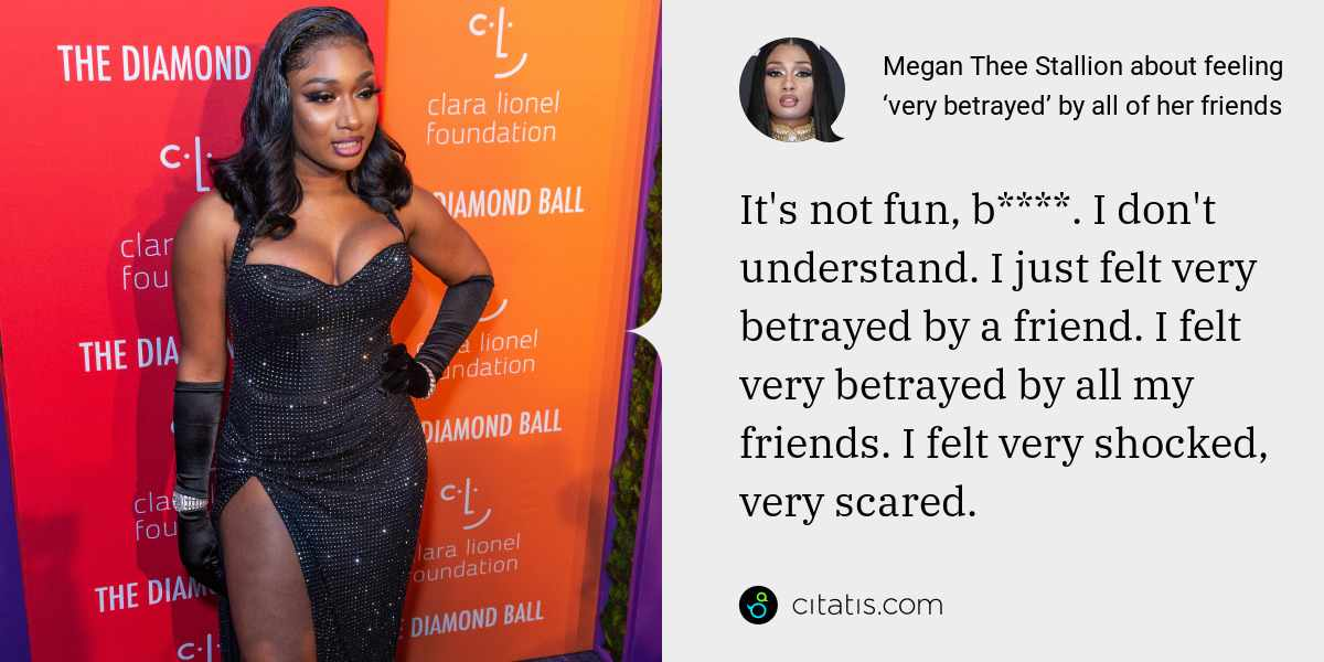 Megan Thee Stallion: It's not fun, b****. I don't understand. I just felt very betrayed by a friend. I felt very betrayed by all my friends. I felt very shocked, very scared.