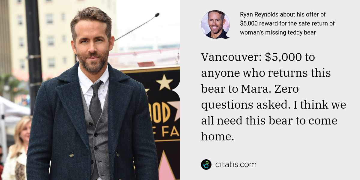 Ryan Reynolds: Vancouver: $5,000 to anyone who returns this bear to Mara. Zero questions asked. I think we all need this bear to come home.