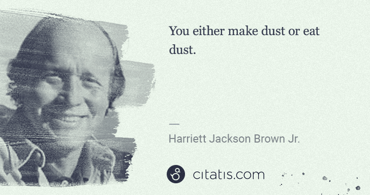 H. Jackson Brown, Jr.: You either make dust or eat dust. | Citatis
