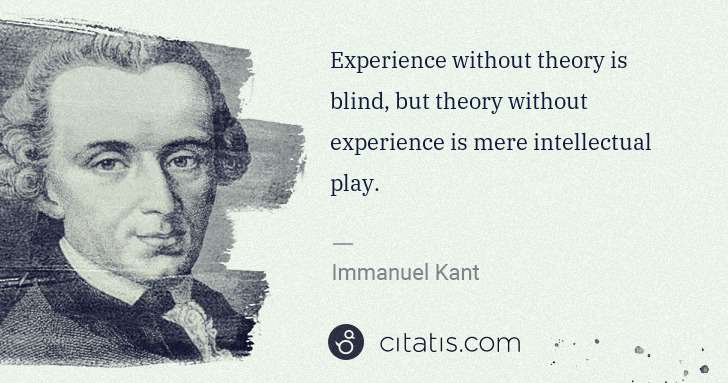 Immanuel Kant: Experience without theory is blind, but theory without ... | Citatis